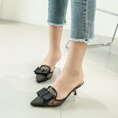 Femmes Mesh Talon stiletto Escarpins Bout fermé avec Bowknot chaussures