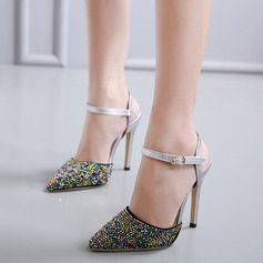 Women's PU Stiletto Heel Pumps Closed Toe With Rhinestone Buckle shoes