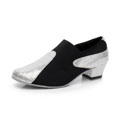 Women's Sparkling Glitter Suede Heels Modern Dance Shoes