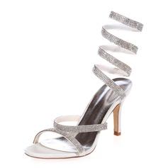 Women's Satin Stiletto Heel Sandals Slingbacks With Rhinestone