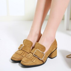 Women's Suede Chunky Heel Pumps Closed Toe With Buckle Tassel shoes