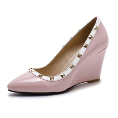 Kadın Suni deri Dolgu Topuk Kapalı Toe Takozlar ayakkabı