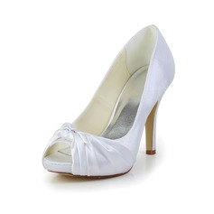 Women's Satin Spool Heel Peep Toe Platform Pumps With Ruched