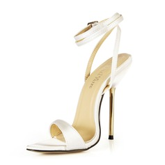 Women's Satin Stiletto Heel Sandals Slingbacks With Buckle shoes