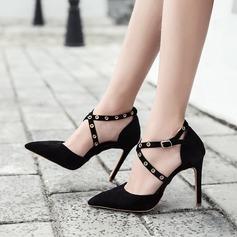 Women's Suede Stiletto Heel Pumps Closed Toe With Rivet Buckle shoes