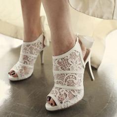 Femmes Dentelle Talon stiletto Bottes À bout ouvert Beach Wedding Shoes