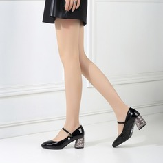 Women's Patent Leather Chunky Heel Pumps Closed Toe Mary Jane With Imitation Pearl Buckle Jewelry Heel shoes