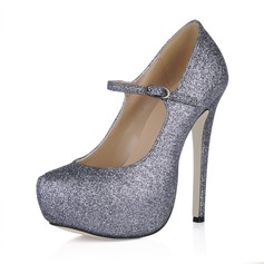 Women's Sparkling Glitter Stiletto Heel Pumps Platform Closed Toe With Buckle shoes