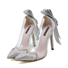 Women's Plastics Stiletto Heel Pumps With Bowknot Sequin Jewelry Heel