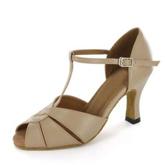 Women's Patent Leather Heels Sandals Latin Ballroom With T-Strap Buckle Dance Shoes