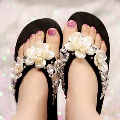 Femmes Tissu Talon plat Plateforme Tongs Chaussons avec Strass Perle d'imitation Une fleur chaussures