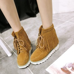 Women's Suede Flat Heel Flats Closed Toe Boots With Lace-up Tassel shoes
