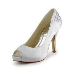Women's Satin Cone Heel Peep Toe Platform Sandals With Rhinestone Ruched
