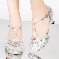 Women's Sparkling Glitter Sandals Pumps Latin Ballroom With T-Strap Buckle Hollow-out Dance Shoes