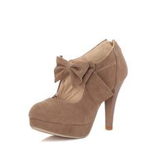 Femmes Suède Escarpins Plateforme Bout fermé avec Bowknot chaussures