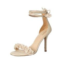 Femmes Vrai cuir Talon stiletto À bout ouvert Sandales Beach Wedding Shoes avec Une fleur