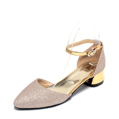 Women's Leatherette Wedge Heel Sandals Flats Closed Toe With Sparkling Glitter Buckle shoes