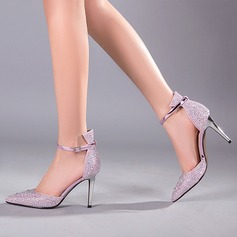Women's Leatherette Stiletto Heel Pumps Sandals With Buckle Crystal