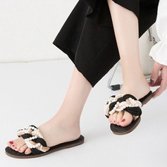 Women's Flat Heel Sandals Peep Toe Slippers With Imitation Pearl shoes