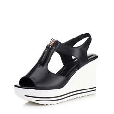 Femmes Similicuir Talon compensé Sandales avec Zip chaussures