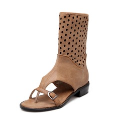 Leatherette Flat Heel Sandals Mid-Calf Boots shoes
