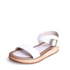 Women's Real Leather Flat Heel Sandals Peep Toe Slingbacks With Buckle shoes