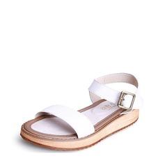 Femmes Vrai cuir Talon plat Sandales À bout ouvert Escarpins avec Boucle chaussures