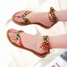 Women's Flat Heel Sandals Flats Peep Toe With Bowknot Ribbon Tie shoes