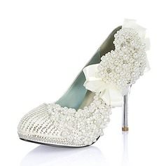 Women's Leatherette Stiletto Heel Closed Toe Pumps With Beading Imitation Pearl Rhinestone