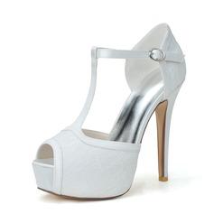 Dla kobiet Lace Satin Szpilki Peep Toe Platforma Sandały Z Klamra