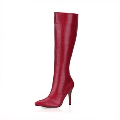 Donna Similpelle Tacco a spillo Stiletto Punta chiusa Stivali Stivali al ginocchio scarpe