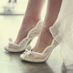 Femmes Mesh Talon stiletto À bout ouvert Beach Wedding Shoes avec Strass Cravate ruban