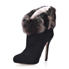 Suede Stiletto Heel Ankle Boots With Fur shoes
