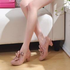 Kadın Süet Kalın Topuk Pompalar Ile İlmek ayakkabı