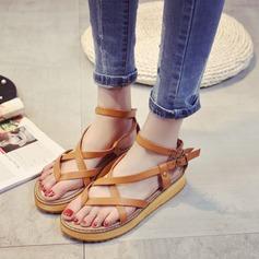 Women's Leatherette Wedge Heel Sandals Peep Toe Slingbacks With Rivet Buckle shoes