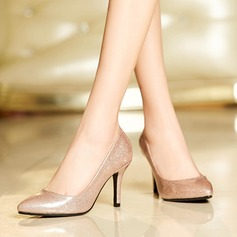 Women's Leatherette Stiletto Heel Pumps Closed Toe With Sparkling Glitter shoes