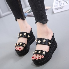 Women's Leatherette Wedge Heel Sandals Platform Wedges Peep Toe Slippers With Rivet shoes