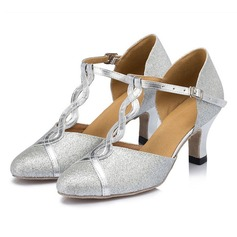 Women's Sparkling Glitter Sandals Pumps Latin Ballroom Tango With Buckle Hollow-out Dance Shoes