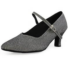 Women's Sparkling Glitter Heels Pumps Ballroom With Buckle Dance Shoes