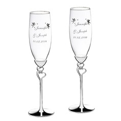 Personalized Double Hearts Glass/Aluminum Toasting Flutes (Set of 2)