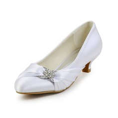 Women's Kitten Heel Closed Toe Pumps With Rhinestone Ruched