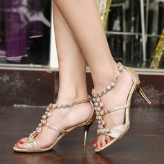 Women's Sparkling Glitter Stiletto Heel Peep Toe Pumps Sandals With Rhinestone