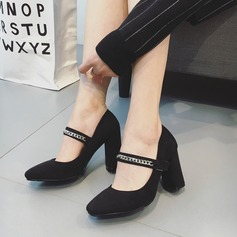 Women's Suede Chunky Heel Pumps Closed Toe With Chain Velcro shoes