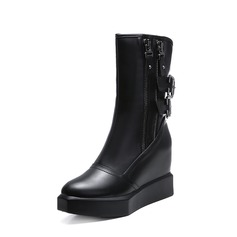 Women's Leatherette Wedge Heel Flats Platform Closed Toe Boots Mid-Calf Boots With Buckle Zipper shoes