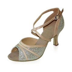 Women's Satin Sparkling Glitter Heels Sandals Latin Dance Shoes