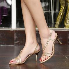 Femmes Similicuir Talon stiletto Sandales Escarpins À bout ouvert chaussures