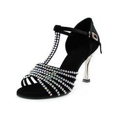 Satin Heels Sandals Latin Ballroom Dance Shoes With Rhinestone T-Strap