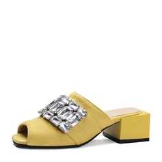 Femmes Suède Talon bottier Sandales À bout ouvert Chaussons avec Strass chaussures