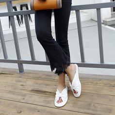 De mujer Cuero Tacón plano Planos Solo correa Pantuflas con Volantes zapatos