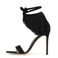Women's Suede Stiletto Heel Sandals With Tassel shoes